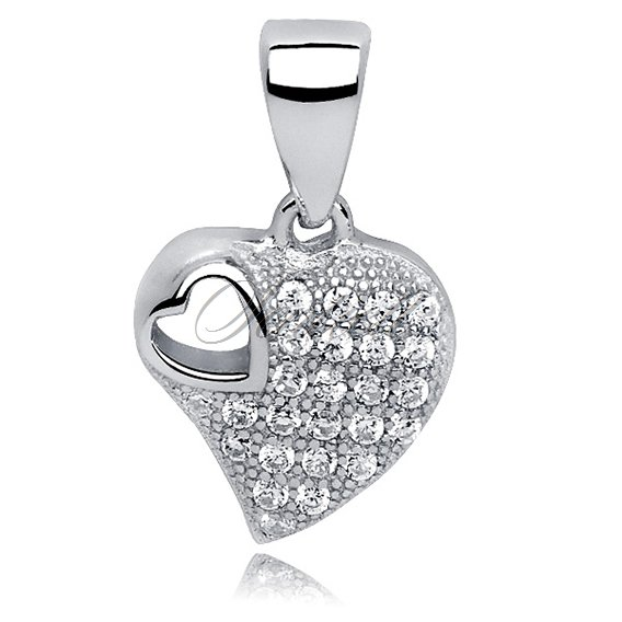 Silver (925) pendant white zirconia - heart in the middle