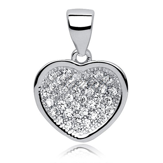 Silver (925) pendant white zirconia - heart small