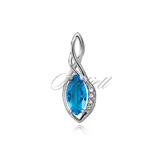 Silver (925) pendant with aquamarine zirconia