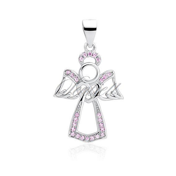 Silver (925) pendant with light pink zirconia - angel