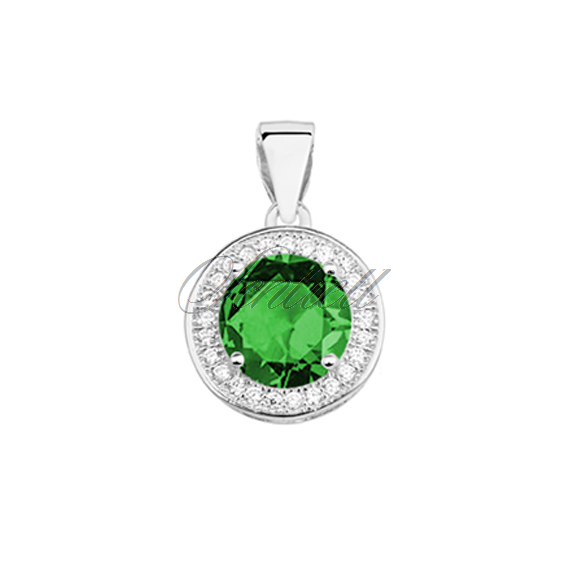 Silver (925) pendant with round emerald zirconia