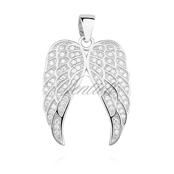Silver (925) pendant with zirconia - angel wings