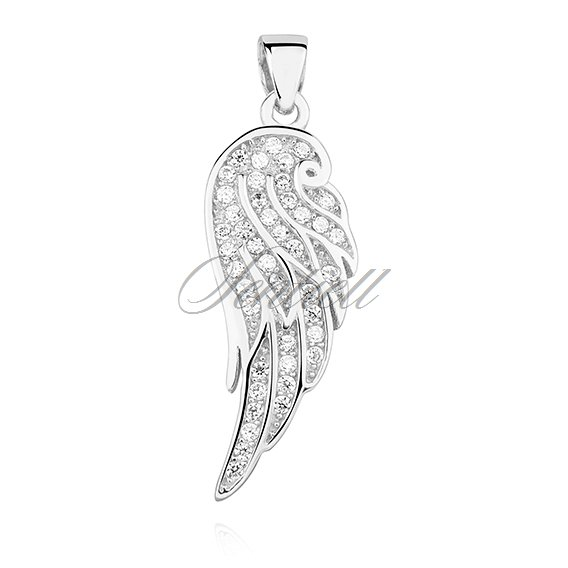 Silver (925) pendant with zirconia - wing
