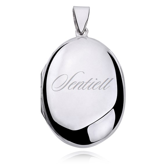 Silver (925) polished pendant - oval locket