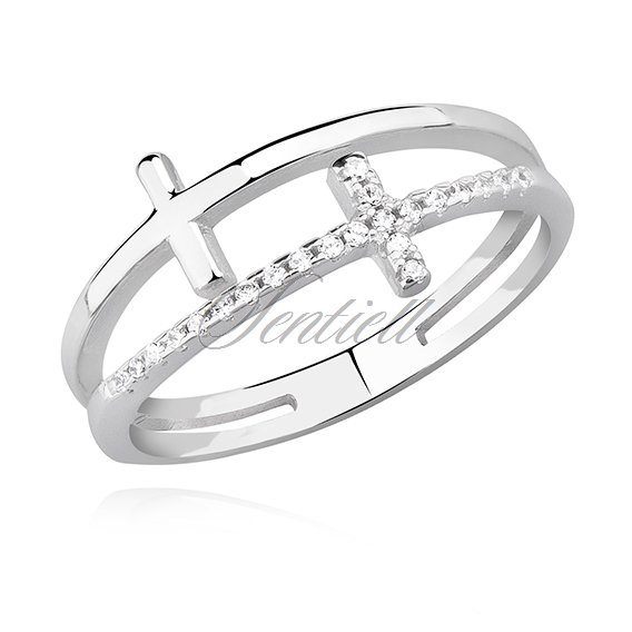 Silver (925) ring - crosses with white zirconia