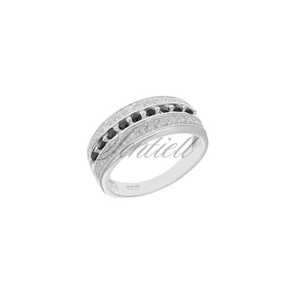 Silver (925) ring white & black zirconia rhodium plated