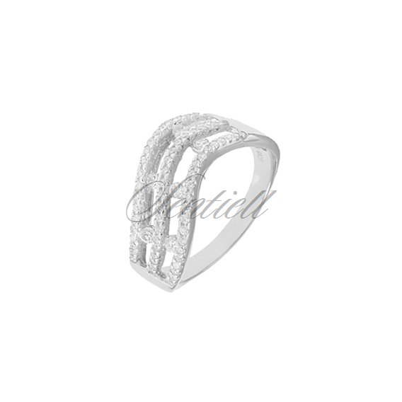 Silver (925) ring white zirconia rhodium plated