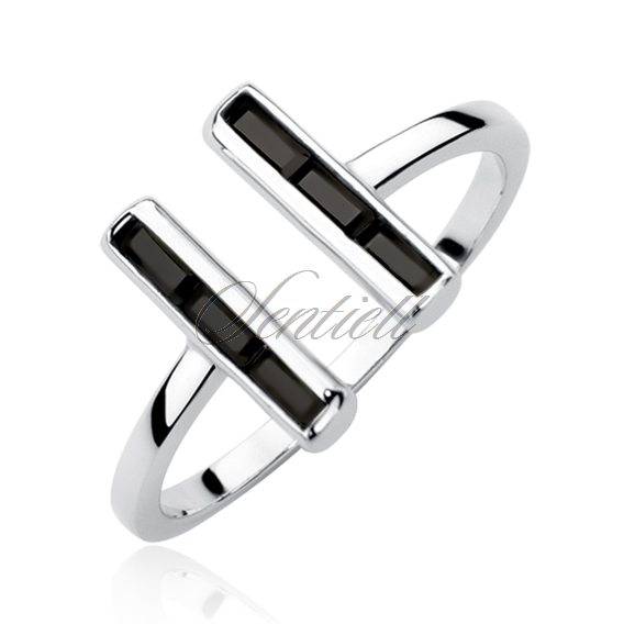 Silver (925) ring with black zirconia - rectangle