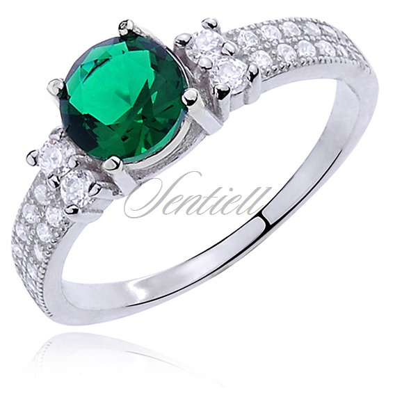 Silver (925) ring with emerald color & white zirconia