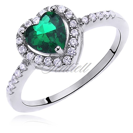 Silver (925) ring with emerald zirconia & white zirconia