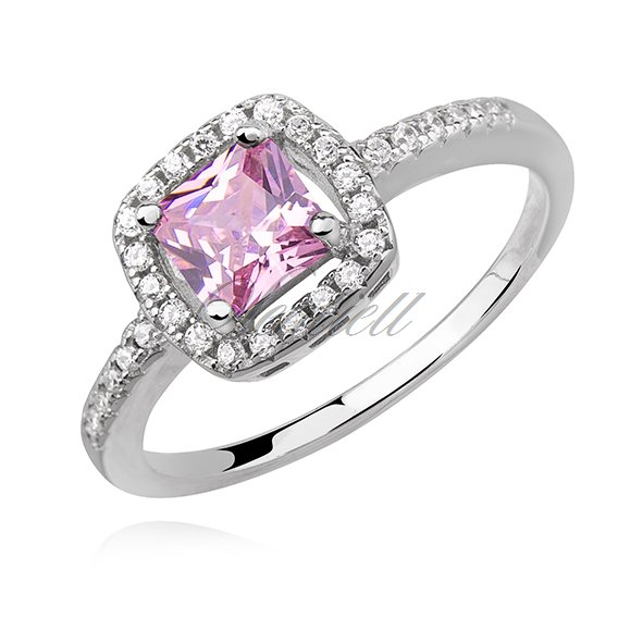 Silver (925) ring with light pink zirconia