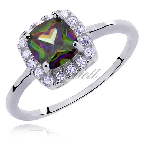 Silver (925) ring with multicolor zirconia - rounded square