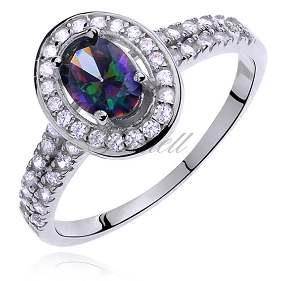 Silver (925) ring with multicolored colored & white zirconia