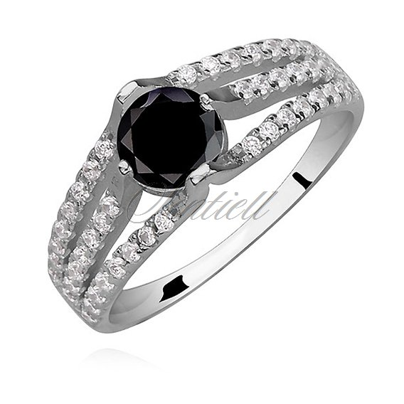 Silver (925) ring with round, black zirconia