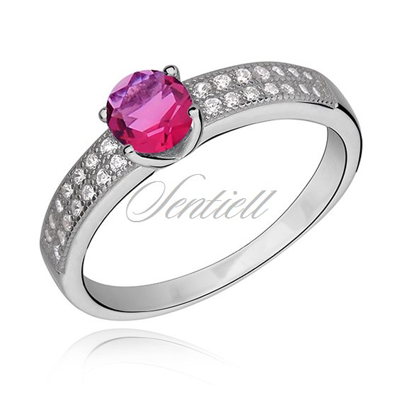Silver (925) ring with ruby color & white zirconia