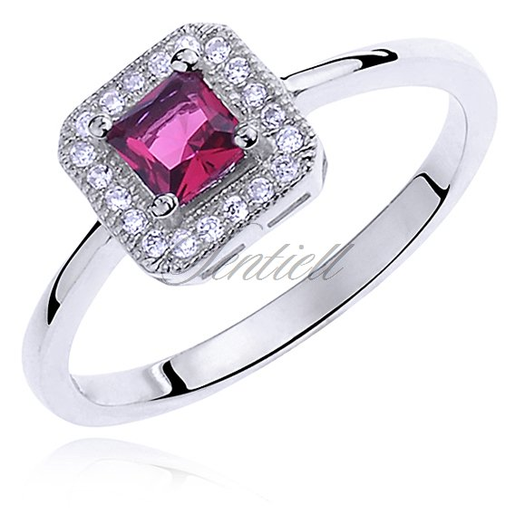 Silver (925) ring with ruby zirconia & white zirconia