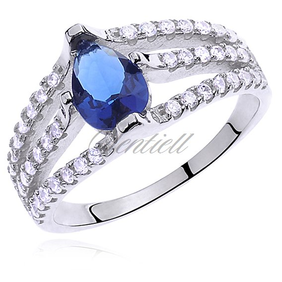 Silver (925) ring with sapphire colored & white zirconia