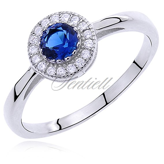 Silver (925) ring with sapphire & white zirconia