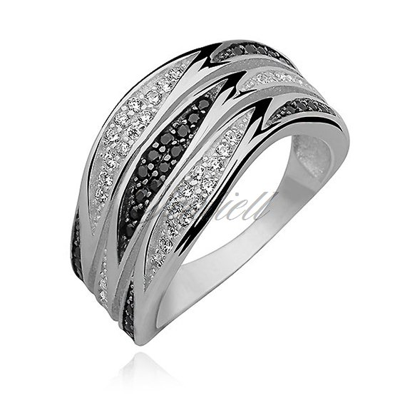 Silver (925) ring with white&black zirconia