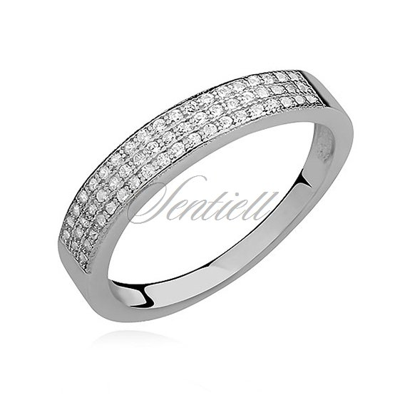 Silver (925) ring with white zirconia - light wave