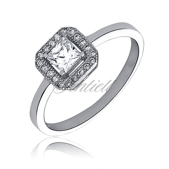 Silver (925) ring with white zirconia microsetting