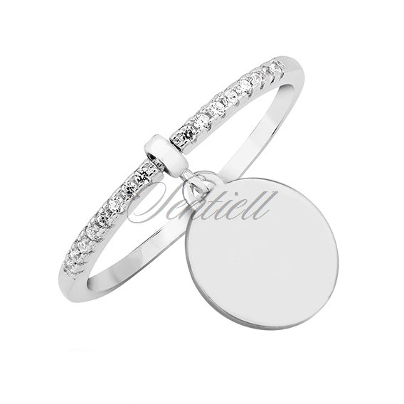 Silver (925) ring with white zirconia - round pendant