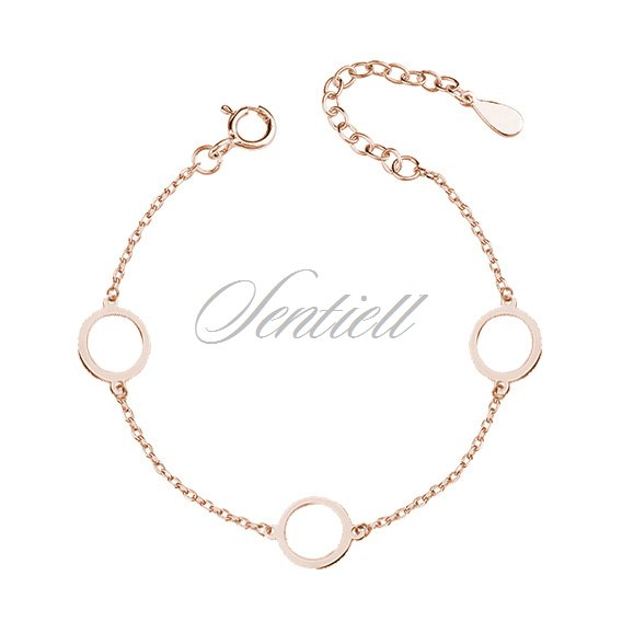Silver (925) rose gold-plated bracelet  - three circles