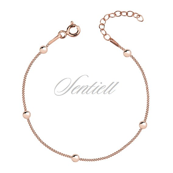 Silver (925) rose gold-plated bracelet with balls