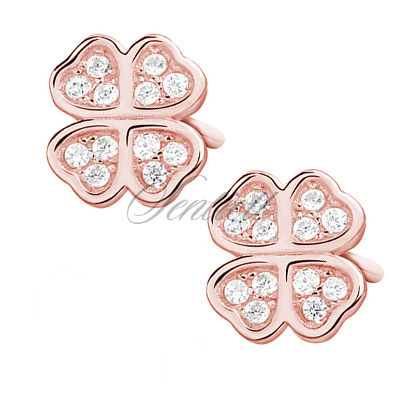 Silver (925) rose gold-plated clover earrings with zirconia