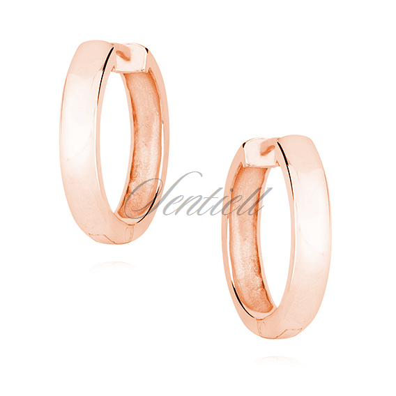 Silver (925) rose gold-plated earrings hoops - highly polished