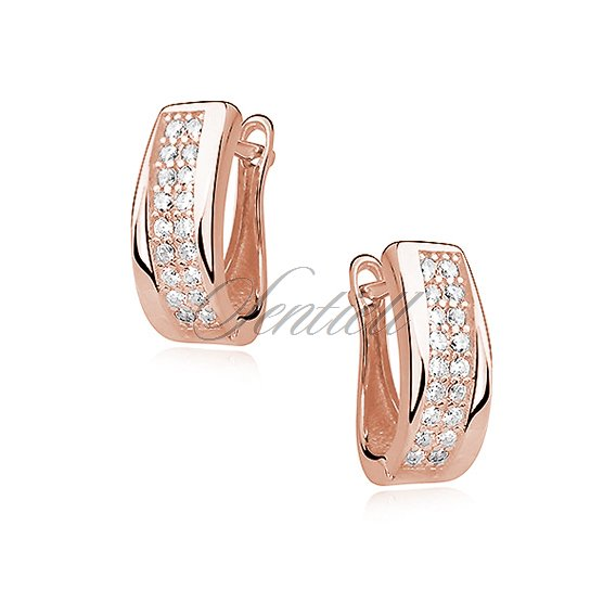 Silver (925) rose gold-plated earrings white zirconia