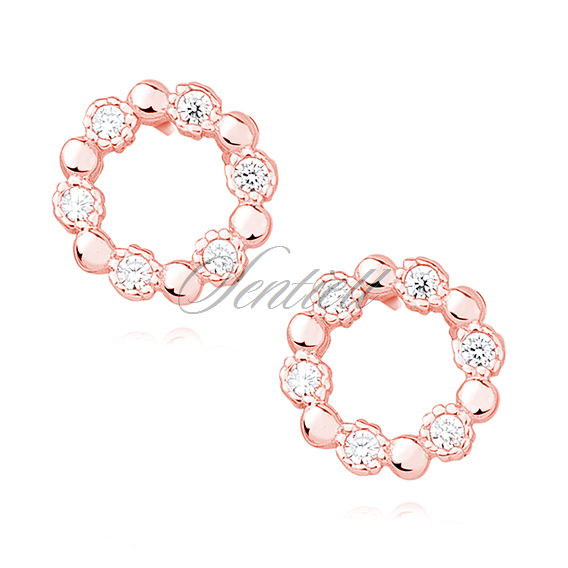 Silver (925) rose gold-plated earrings with white zirconia