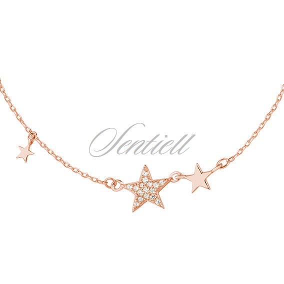 Silver (925) rose gold-plated necklace - stars with zirconia