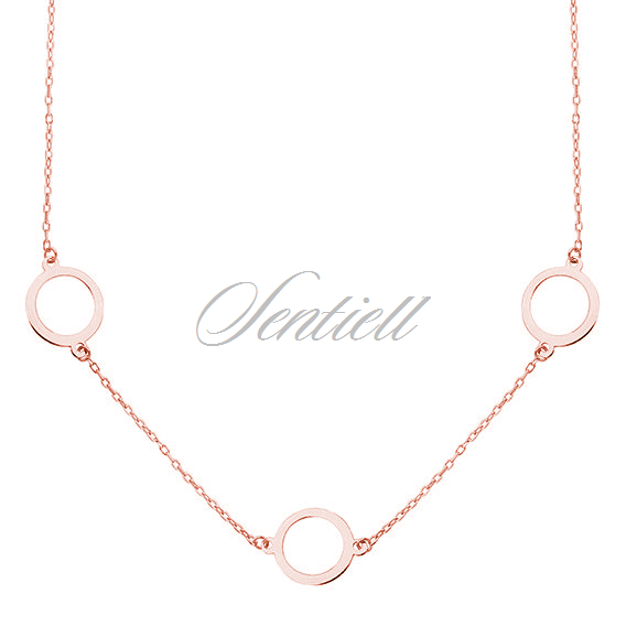 Silver (925) rose gold-plated necklace - three circles