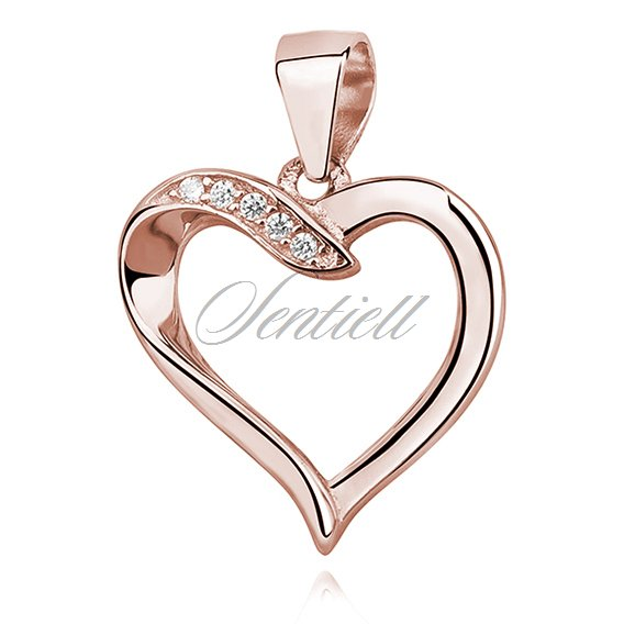 Silver (925) rose gold-plated pendant - heart with zirconia