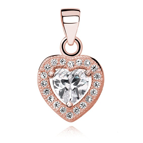 Silver (925) rose gold-plated pendant white colored zirconia - heart