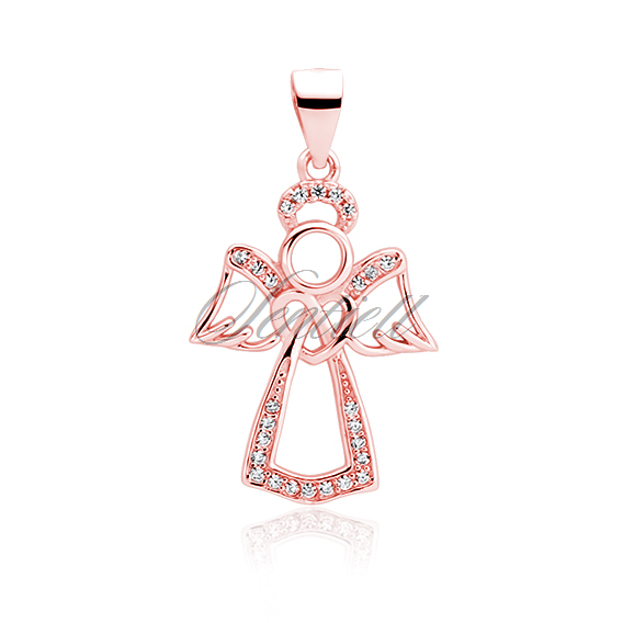 Silver (925) rose gold-plated pendant with zirconia - angel