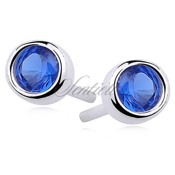 Silver (925) round earrings sapphire colored zirconia