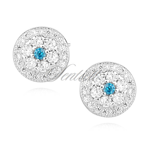Silver (925) round earrings with aquamarine zirconia