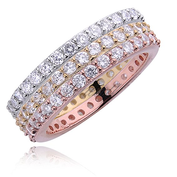 Silver (925) stackable rings with white zirconia