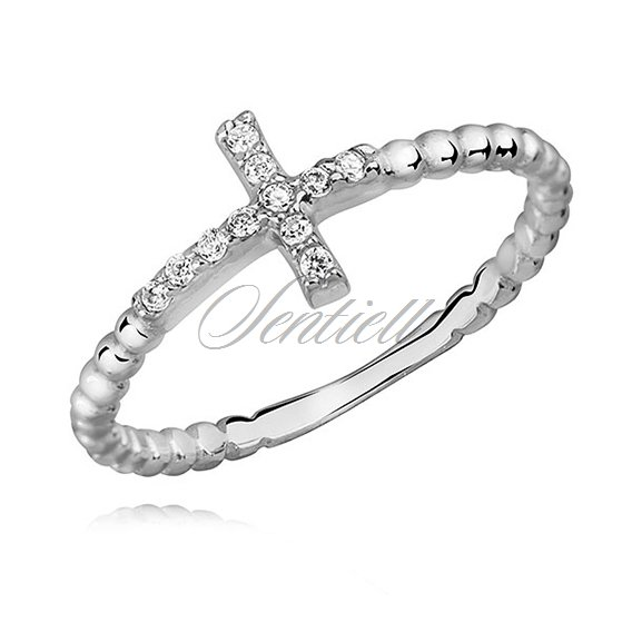Silver (925) subtle, cross ring with zirconia