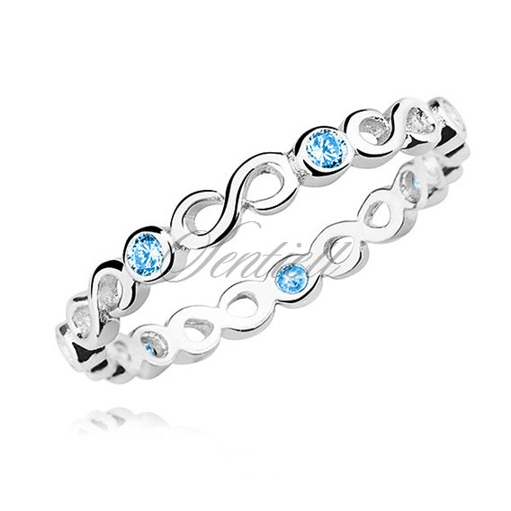 Silver (925) subtle ring with aquamarine zirconia - Infinity