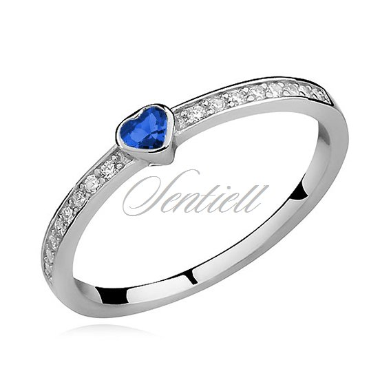 Silver (925) subtle ring with sapphire zirconia