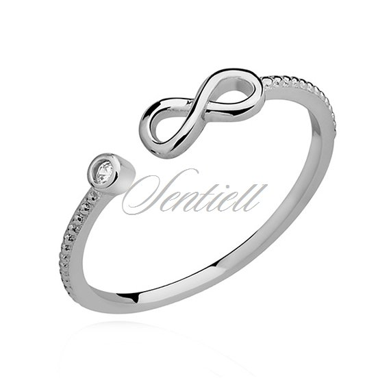 Silver (925) subtle ring with white zirconia - Infinity