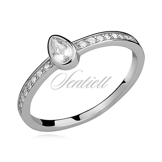 Silver (925) subtle ring with white zirconia tear