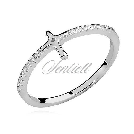 Silver (925) subtle ring with zirconia - cross