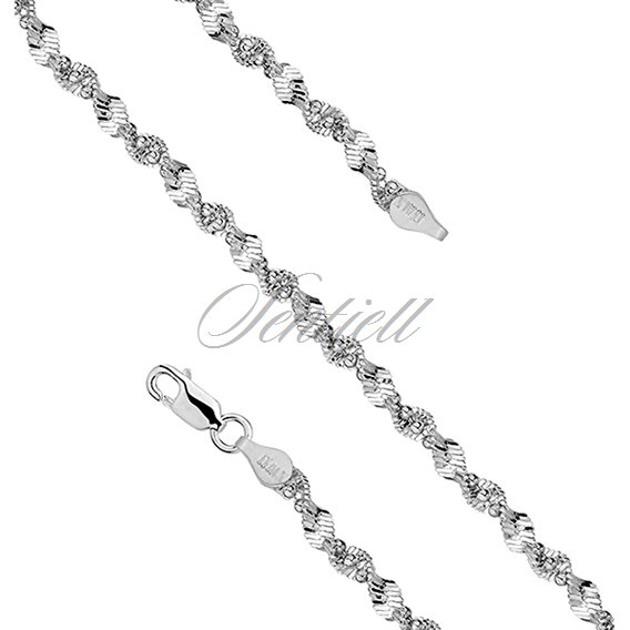Silver (925) twisted chain necklace with balls Ø 040