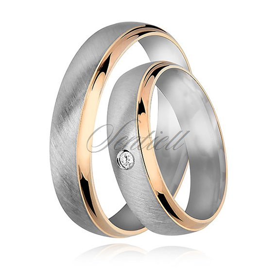 Silver (925) wedding ring for men - satin with gold-plated elements
