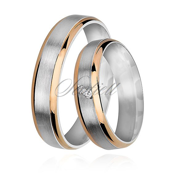 Silver (925) wedding ring for women - satin with gold-plated elements and zirconia