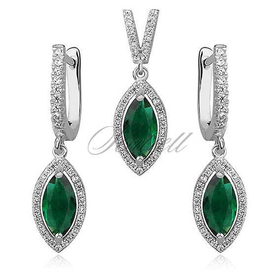 Silver Set (925) emerald marquise zirconia